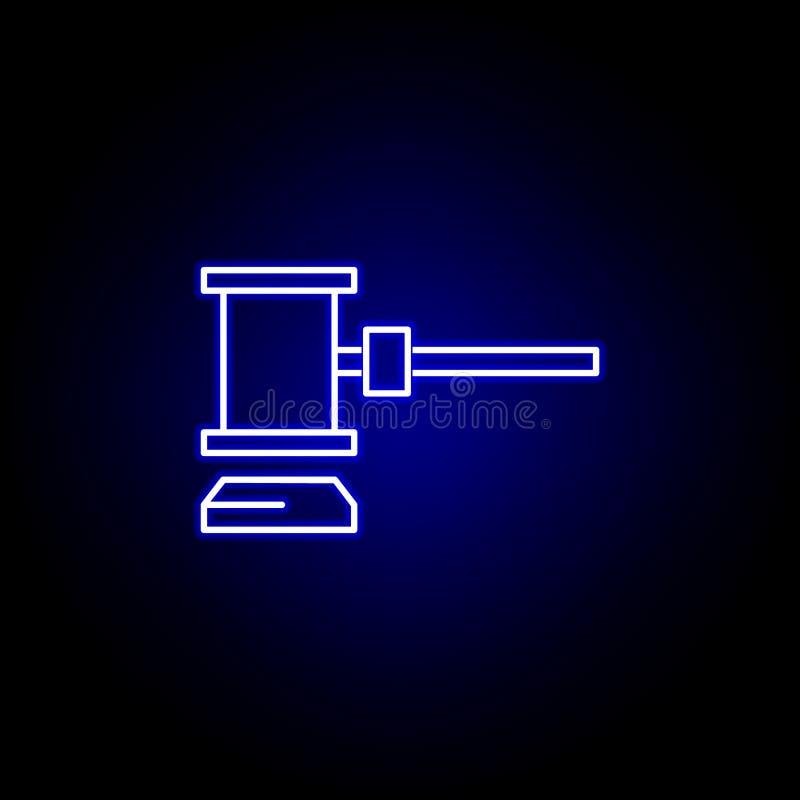 Wybory licytują ikonę w neonowym stylu Znaki i symbole mog? u?ywa? dla sieci, logo, mobilny app, UI, UX royalty ilustracja