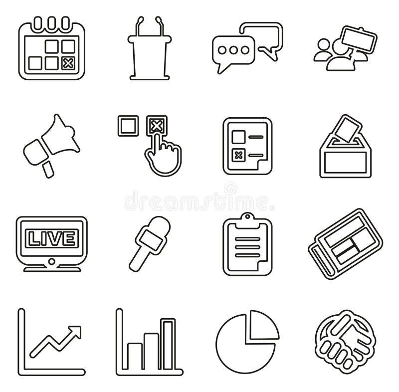 Wybory lub Głosować ikony Cienieją Kreskowego Wektorowego ilustracja set ilustracja wektor