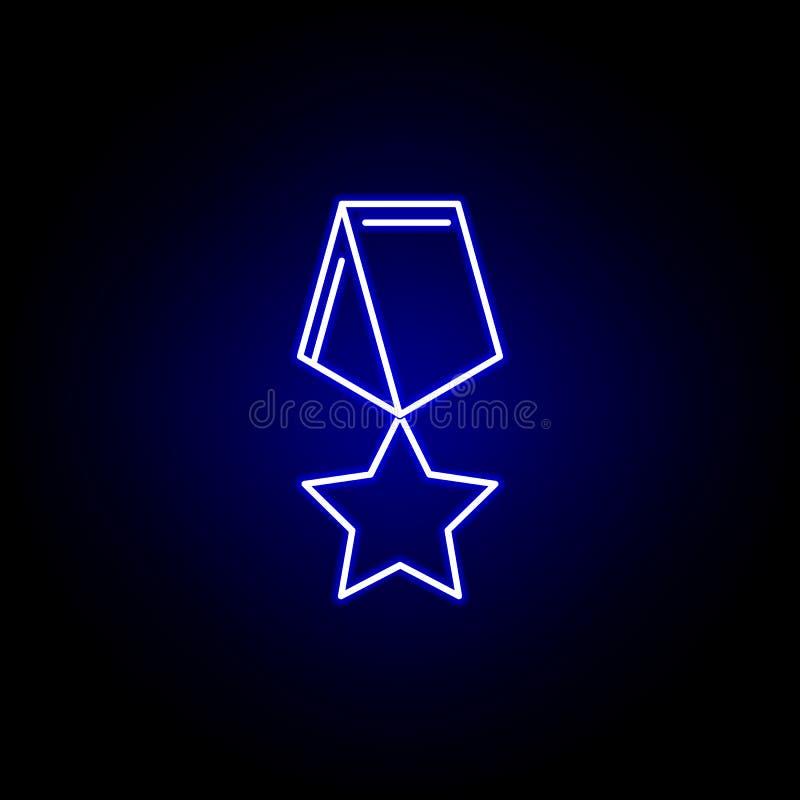Wybory medalu ikona w neonowym stylu Znaki i symbole mog? u?ywa? dla sieci, logo, mobilny app, UI, UX ilustracji