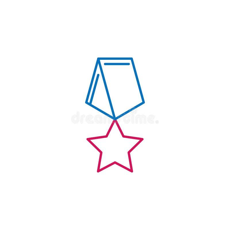 Wybory, medalu konturu barwiona ikona Może używać dla sieci, logo, mobilny app, UI, UX royalty ilustracja