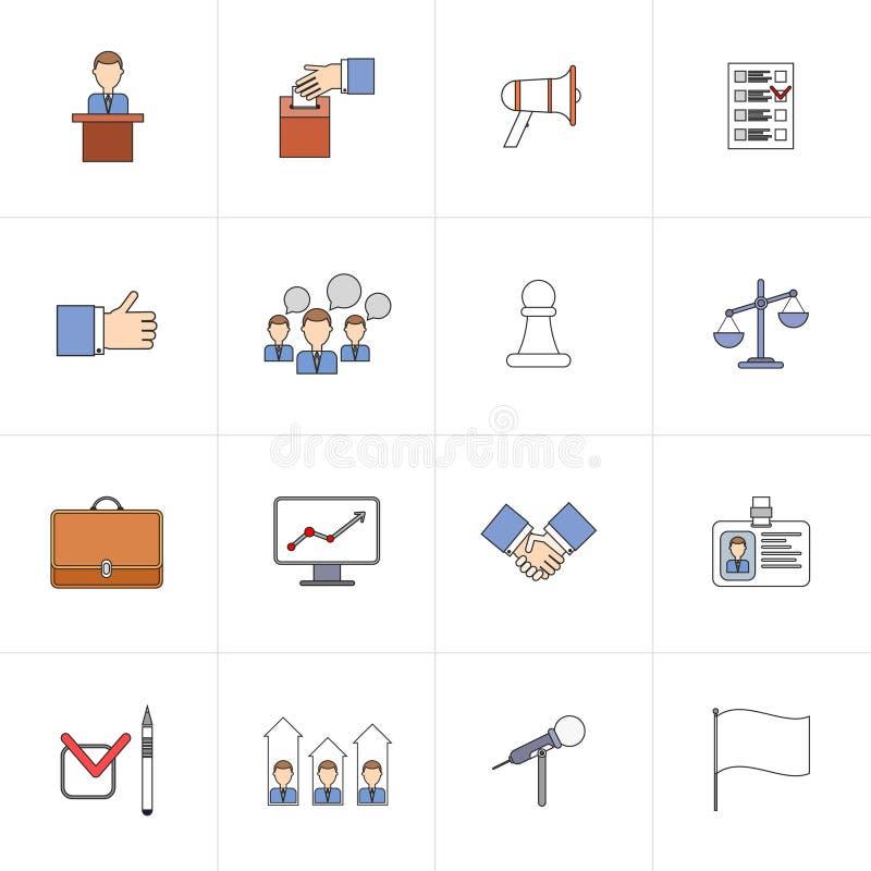 Wybory mieszkania ikona ustawiająca linia ilustracji