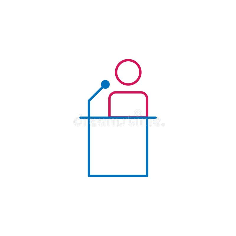 Wybory, mowa konturu barwiona ikona Może używać dla sieci, logo, mobilny app, UI, UX royalty ilustracja