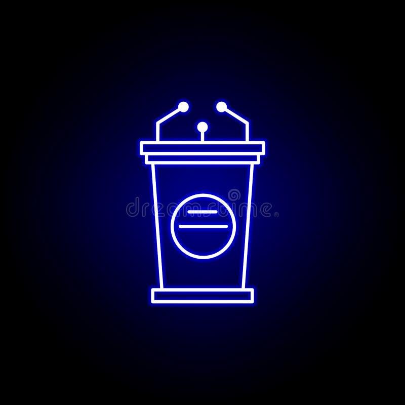 Wybory mowy ikona w neonowym stylu Znaki i symbole mog? u?ywa? dla sieci, logo, mobilny app, UI, UX ilustracja wektor