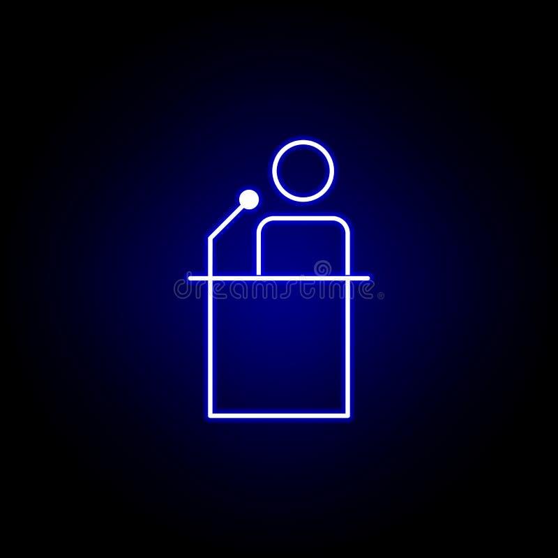 Wybory mowy ikona w neonowym stylu Znaki i symbole mog? u?ywa? dla sieci, logo, mobilny app, UI, UX royalty ilustracja
