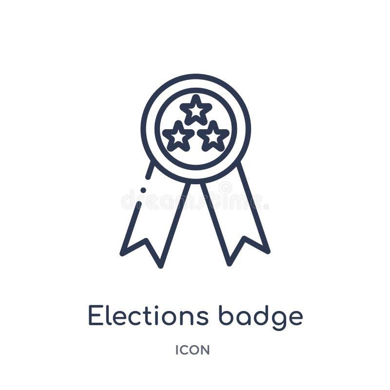 wybory odznaka z gwiazdową ikoną od politycznej kontur kolekcji Cienieje kreskową wybory odznakę z gwiazdową ikoną odizolowywając ilustracja wektor