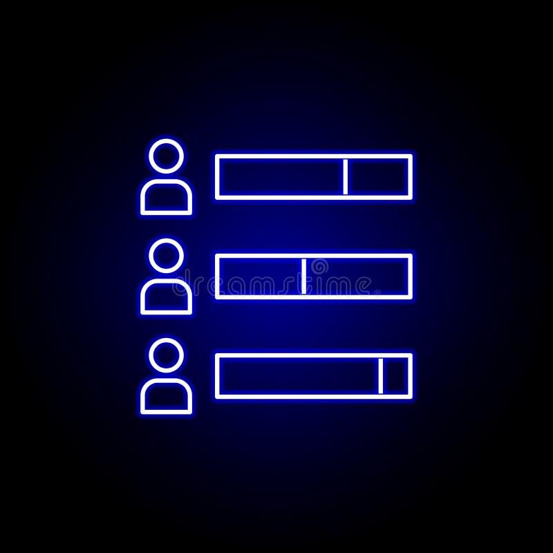 Wybory prętowej mapy ikona w neonowym stylu Znaki i symbole mog? u?ywa? dla sieci, logo, mobilny app, UI, UX ilustracji