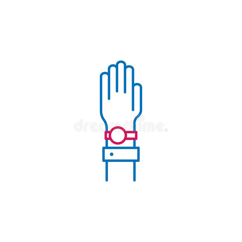 Wybory, ręka, ślubowanie kontur barwili ikonę Może używać dla sieci, logo, mobilny app, UI, UX royalty ilustracja