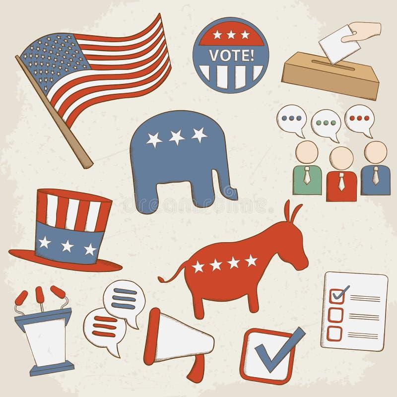 Wybory ręki rysować wektorowe ikony ilustracja wektor
