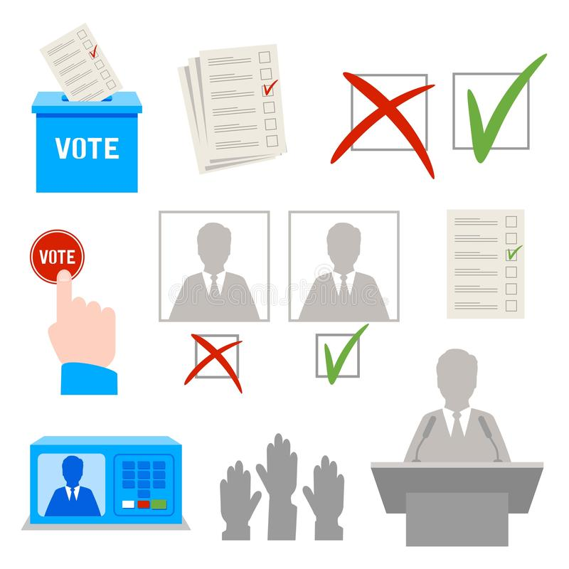 wybory Set o temacie wektorowe ikony ilustracja wektor