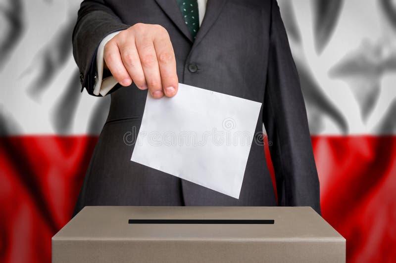 Wybory w Polska - głosujący przy tajnego głosowania pudełkiem zdjęcie stock