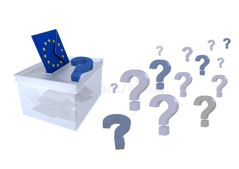 Wybory w unii europejskiej znak zapytania kopercie z europejczyk flagą i tajnym głosowaniu głosują dla eu parlamentu - 3d renderi ilustracja wektor