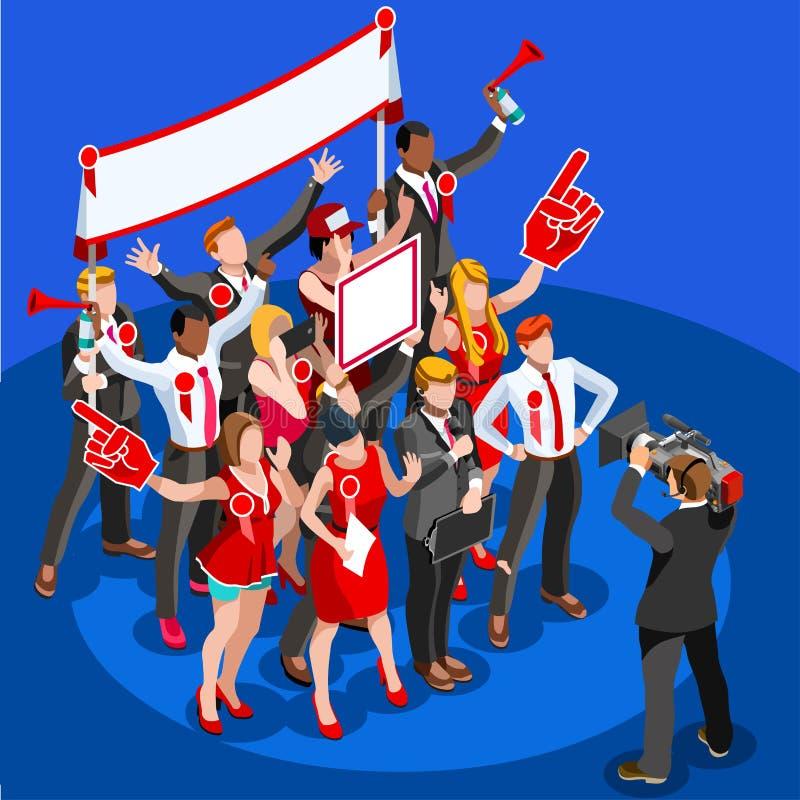 Wybory wiadomości Infographic przyjęcia delegata Wektorowi Isometric ludzie royalty ilustracja