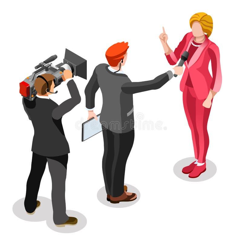Wybory wiadomości Infographic wywiadu wiadomości Wektorowi Isometric ludzie ilustracja wektor