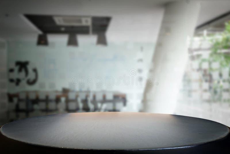 Wybranej ostrości pusty czarny drewniany stół, pokój konferencyjny i offi fotografia stock
