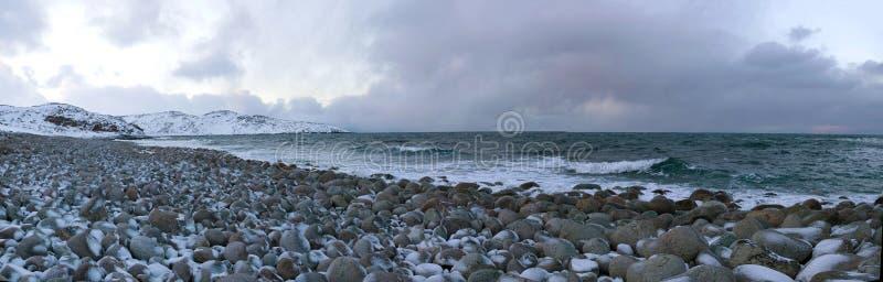 Wybrzeże Barents morze w Luty dniu Teriberka, Rosja obraz royalty free