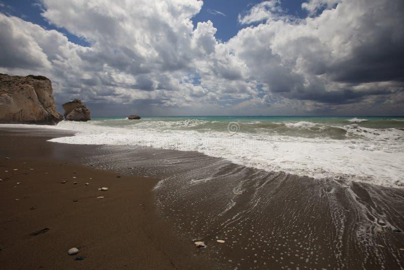 Wybrzeże Cypr w terenie rockowy Aphrodite obrazy royalty free