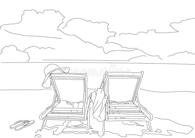 Wybrzeże denna chmury plaża royalty ilustracja