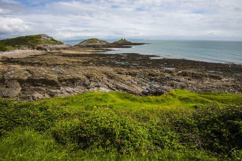 Wybrzeże Gower półwysep w południowych waliach, Brytania obraz stock