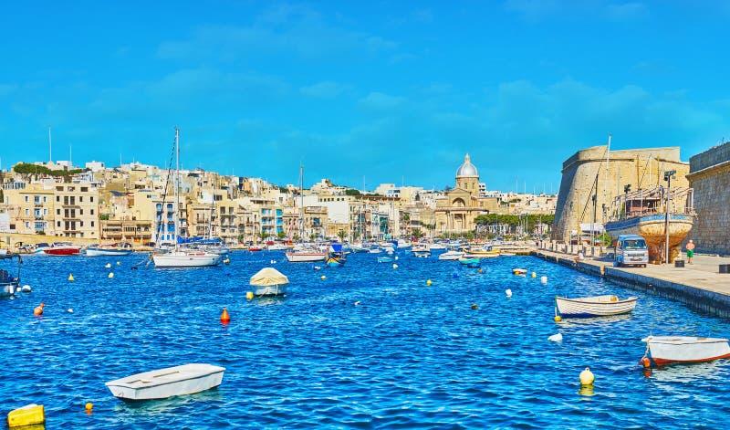Wybrzeże Kalkara, Malta fotografia royalty free