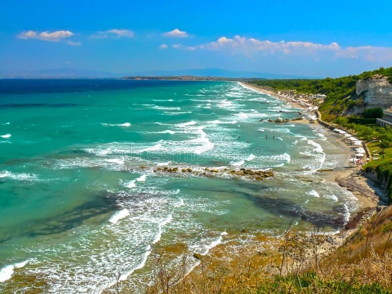 Wybrzeże Kassandra półwysep zdjęcie stock