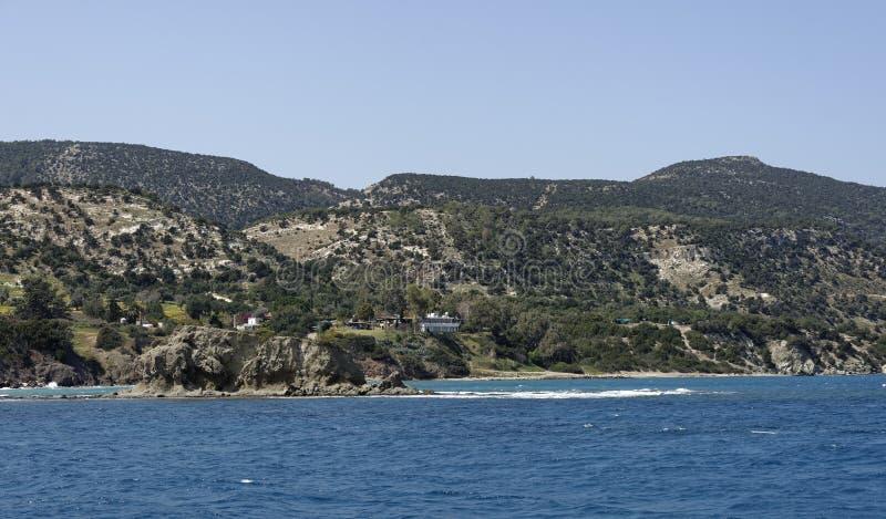 Wybrzeże przy Aphrodite ` s skąpaniami zdjęcia stock