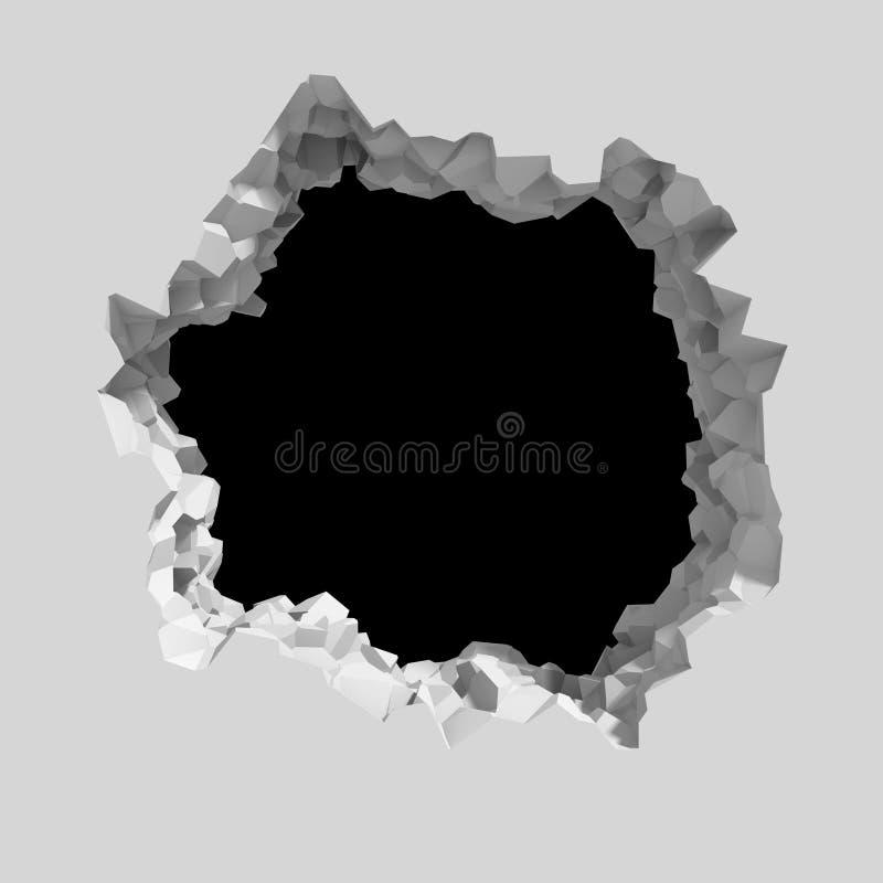 Wybuch łamająca biel ściana z krakingową dziurą Abstrakcjonistyczny backgrou ilustracji