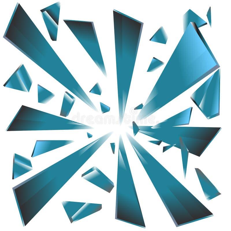 Wybuch łamani Bławi szklani graniastosłupy ilustracji
