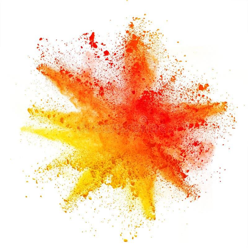 Wybuch barwiony proszek na białym tle obrazy stock