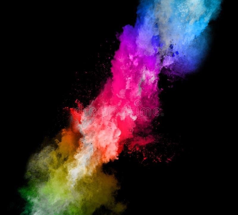 Wybuch barwiony proszek na czarnym tle obrazy stock
