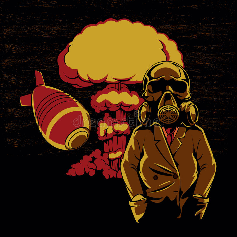 Wybuch bomby atomowej, czaszki maski gazowej ilustracja, ilustracji