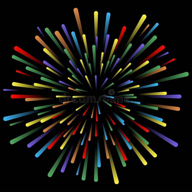 Wybuch fajerwerki Rozjarzeni lekcy skutki Abstrakcjonistyczne jaskrawe kolorowe linie, promienie Tło z pirotechnicznym salutem we ilustracja wektor