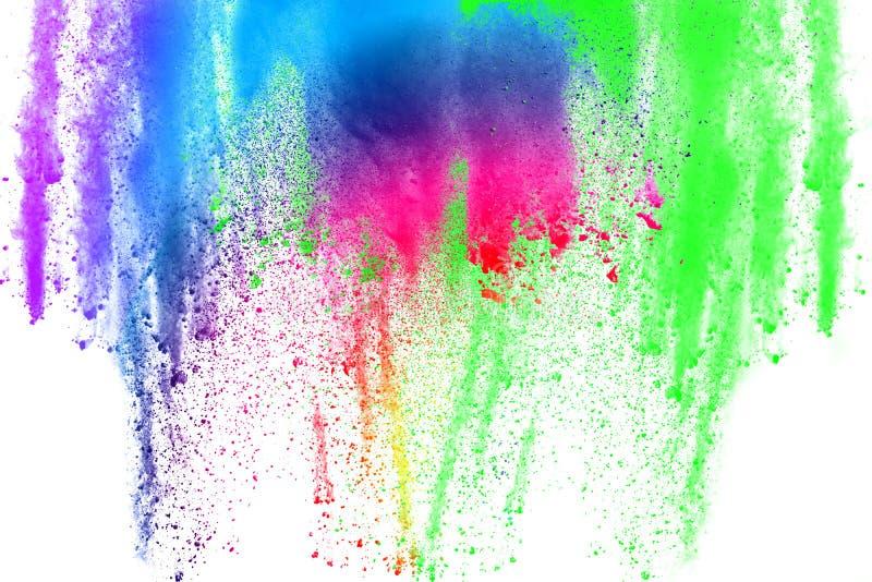 Wybuch koloru proszek na białym tle zdjęcia royalty free