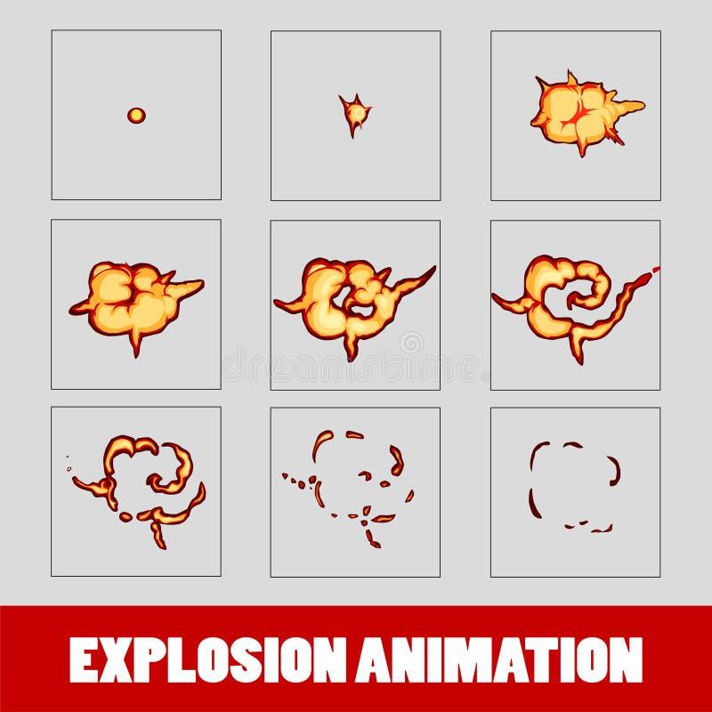 Wybuch, kreskówka wybuchu animaci ramy dla gry Sprite prześcieradło na ciemnym tle Dymna animacja ilustracja wektor