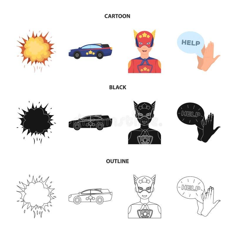 Wybuch, ogień, dym i inna sieci ikona w kreskówce, czerń, konturu styl Nadczłowiek, superforce, płacz, ikony w secie royalty ilustracja