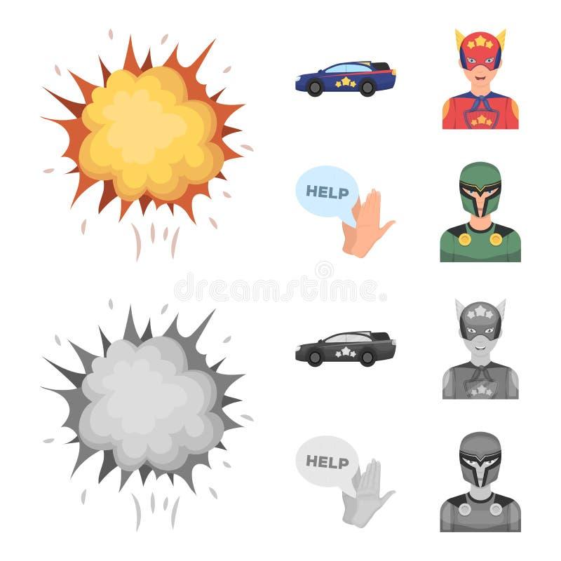 Wybuch, ogień, dym i inna sieci ikona w kreskówce, monochromu styl Nadczłowiek, superforce, płacz, ikony w ustalonej kolekci royalty ilustracja