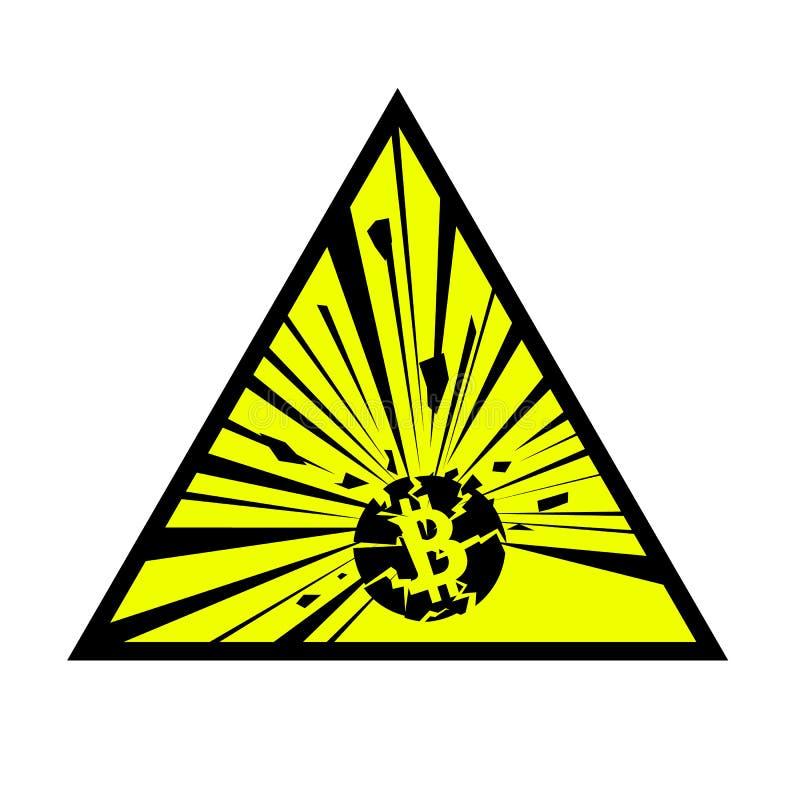 Wybuchać bitcoin znaka Wektorowa ilustracja na białym odosobnionym tle royalty ilustracja