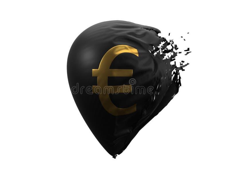 Wybuchać euro waluta balon ilustracja 3 d ilustracja wektor
