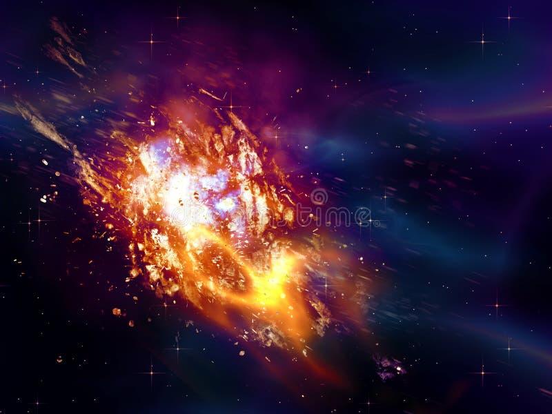 Wybuchać gwiazda w przestrzeni ilustracja wektor