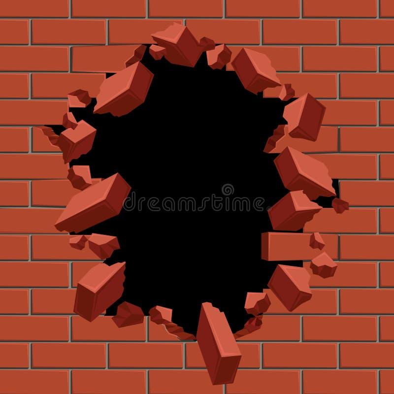 Wybuchać out dziury w czerwonej ściana z cegieł wektoru ilustraci ilustracja wektor