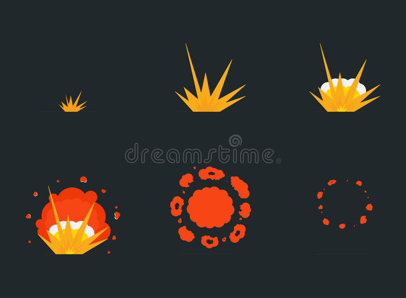 Wybucha skutek animację z dymem Kreskówki uderzenia wybuchu ramy ilustracji