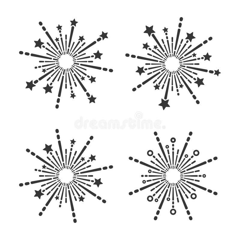Wybuchający fajerwerk ikony Ustawiać na Białym tle wektor ilustracji