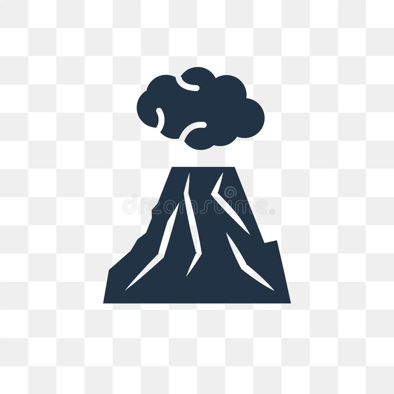 Wybuchający wulkan wektorową ikonę odizolowywającą na przejrzystym tle, royalty ilustracja
