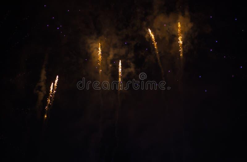 Wybuchowi i kolorowi wakacyjni fajerwerki przy nocnym niebem fotografia royalty free