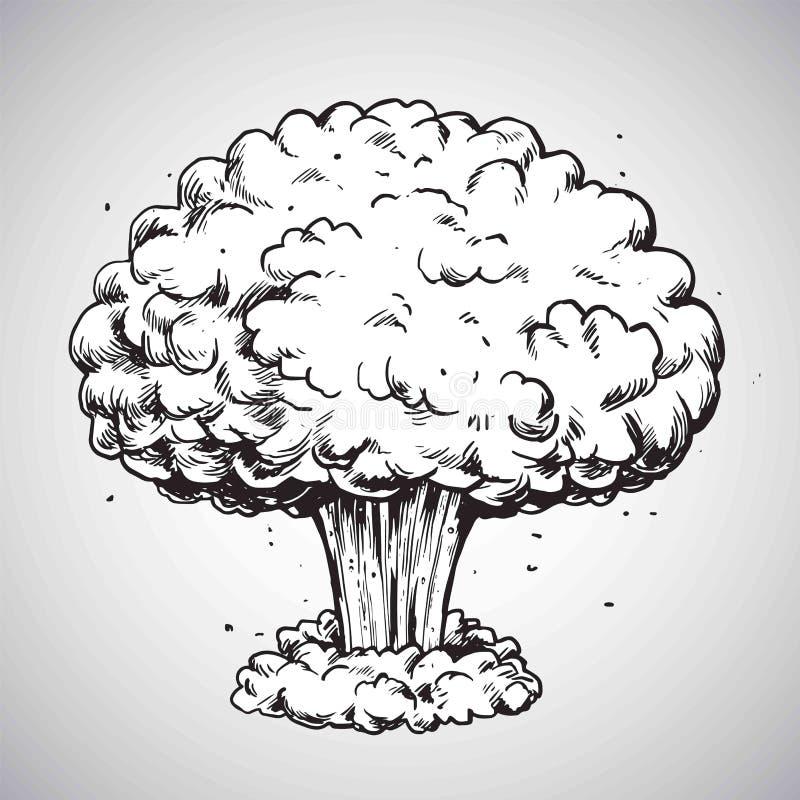 Wybuchu Bomby Atomowej grzyba atomowego Rysunkowy Ilustracyjny wektor royalty ilustracja