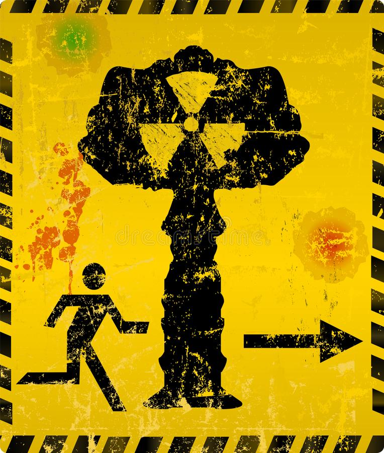 Wybuchu bomby atomowej sposobu wylotowy znak ilustracji