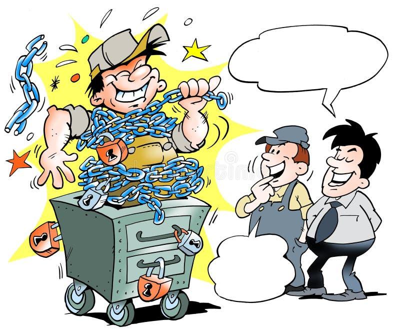 Wybuchu mechanik w warsztacie ilustracja wektor