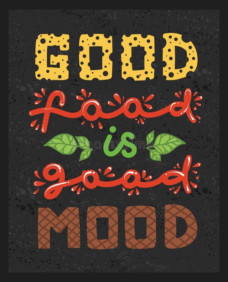 Wycena ` dobry jedzenie jest dobrym trybowym ` Kaligrafia plakat na ciemnym tle Wektorowa ilustracja literowanie zwrot ilustracja wektor