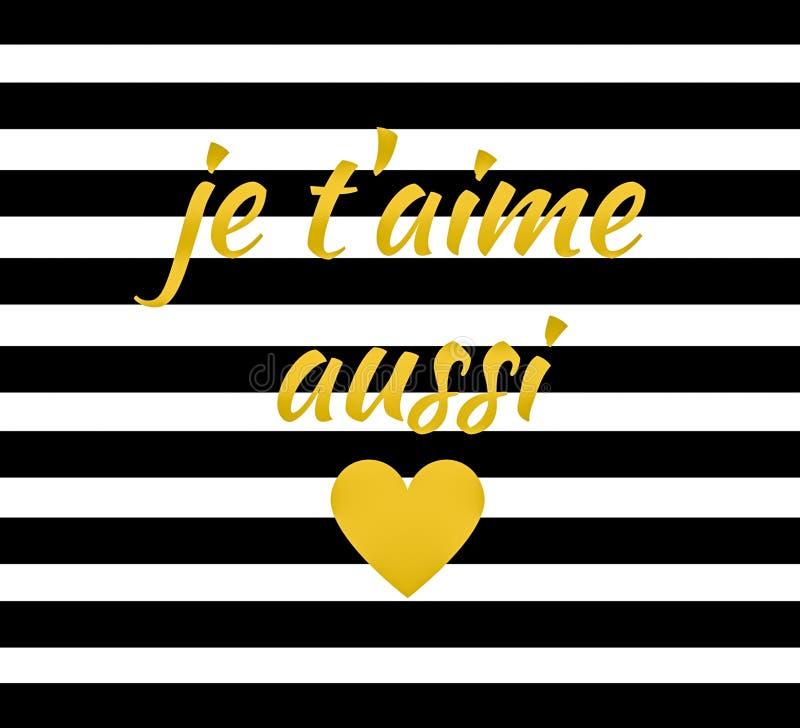 Wycena: Je t ` aime aussi francuz dla kocham ciebie tysiąc czasów royalty ilustracja