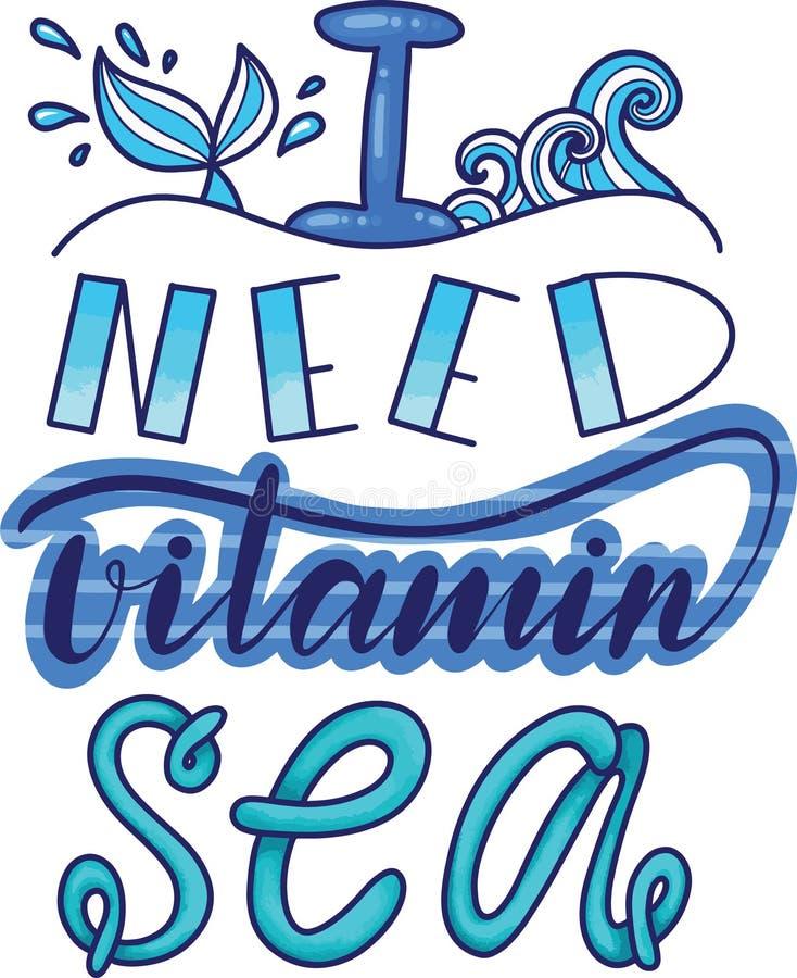Wycena potrzebuj? witaminy morze literowanie witaminy morze R?ka rysuj?ca wektorowa ilustracja royalty ilustracja