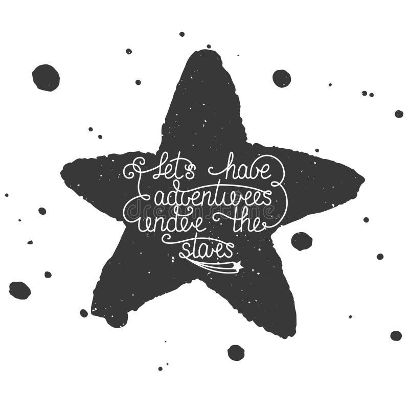Wycena Pozwalał my mieć przygody pod gwiazdami z ręcznie robiony akwareli gwiazdą, pluśnięciami i royalty ilustracja